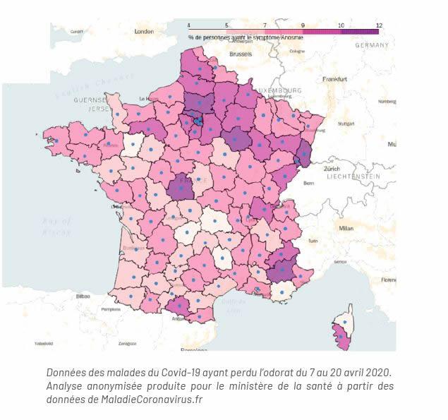 Carte de France de l'odorat